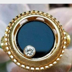 Jewelry - 14k Gold Diamond Onyx Motion Ring-Spinner Ring